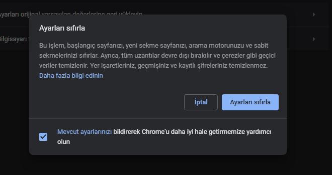 Chrome Varsayılan Ayarlarına Nasıl Sıfırlanır?